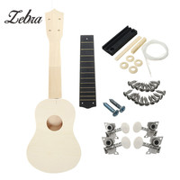 زيبرا diy الأبيض خشبية 21 بوصة القيثارة السوبرانو uke هاواي الغيتار كيت مع أجزاء الملحقات الموسيقية