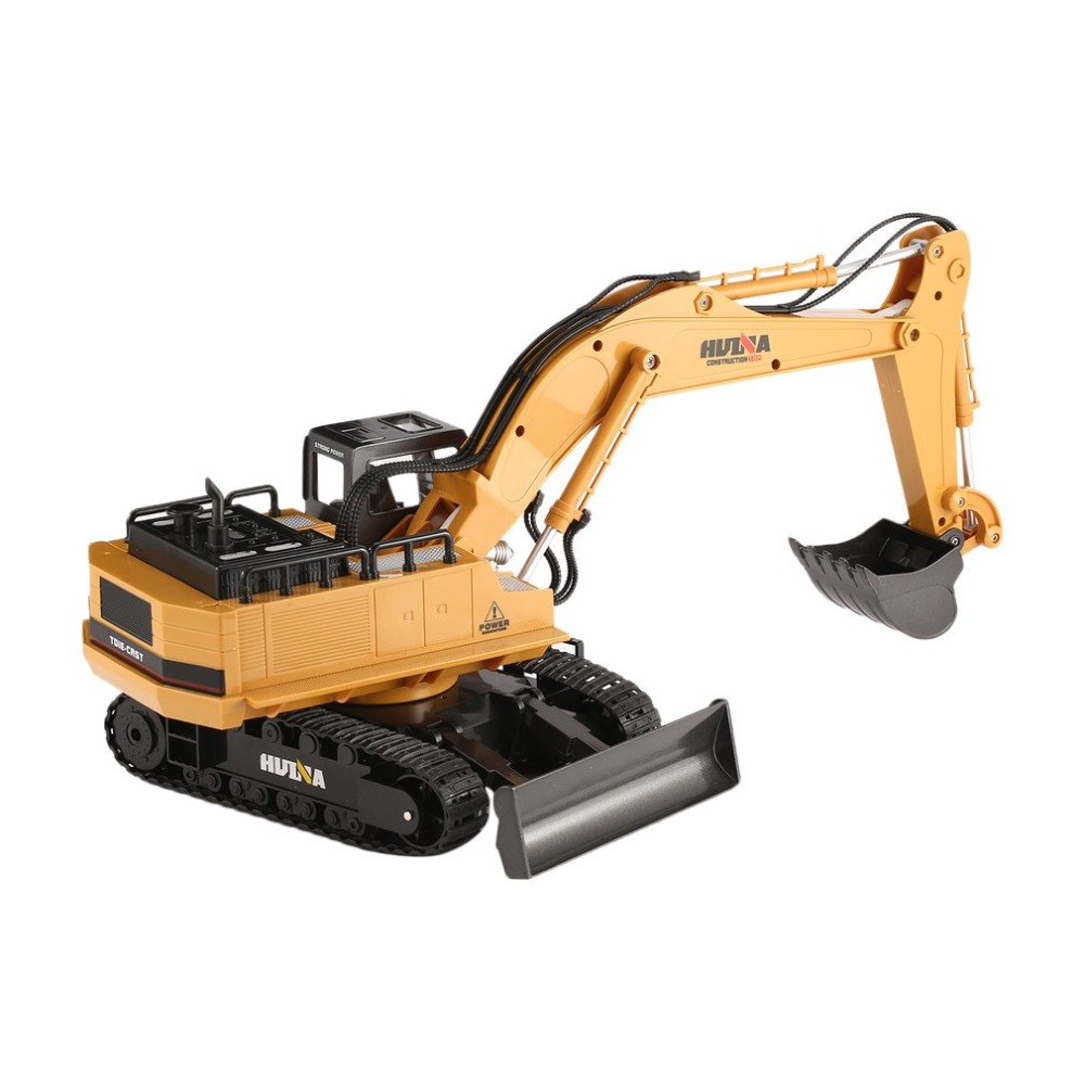 HUINA TOYS Car 1510 2.4G 1/16 11CH Alloy RC Excavator Truck Engineering Construction Vehicle Toy with 680' Rotation Sound Light huina 1510 rc excavator car 2 4g 11ch metal remote control engineering digger truck model electronic heavy machinery toy