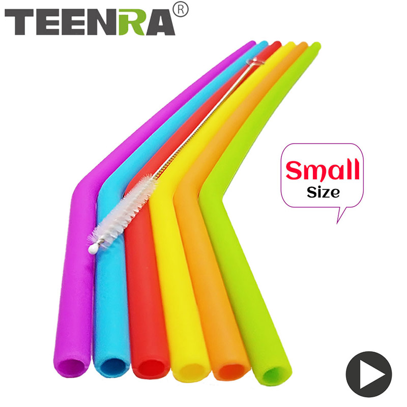 TEENRA 6Pcs Dia 7mm Reusable Silicone Straws Food Grade Silicone Straws Drinking With Cleaning Brush Party Straws BPA Free