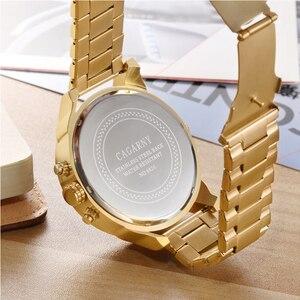 Image 5 - Relogio Masculino Cagarny Brand Analog Military Wristwatch Auto Date Mens Quartz Watch Golden Band Casaul Watch Men Clock D6280Z