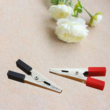 2016 Creative 10pcs 4.5cm red/black Test Alligator Electrical Clip Clamp Connector