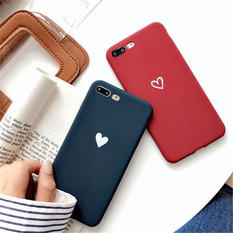 Scrub Plain Fashion Color Simple Heart Pattern Case For <font><b>Xiaomi</b></font> Redmi 5X 6A 6X 8SE <font><b>Lite</b></font> A1 A2 Note 4 4X 5 5A 6 6A Pro S2 Cover image