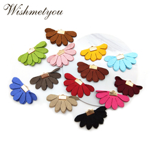 WISHMETYOU 10Pcs 25mm Colorful Flowers Leather Tassel For DIY Earrings Decor Home Curtain Crafts Supplies Fabric Findings