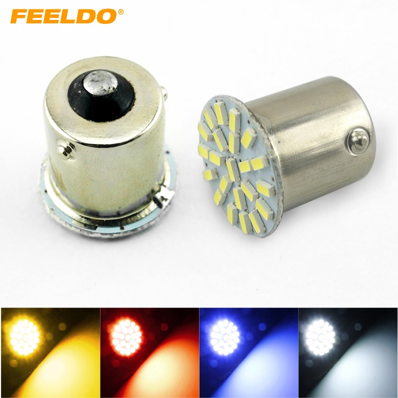 FEELDO 200Pcs White Car 1156 BA15S 22LED 3014 22SMD LED Light Lamp Turn Signal Lights FD