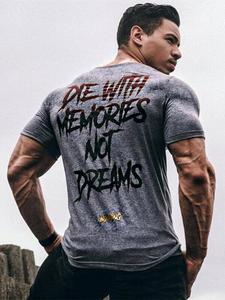 Yomeke Новая Мужская хлопковая футболка с коротким рукавом, летняя повседневная модная футболка для тренажерного зала, фитнеса, бодибилдинга, ...