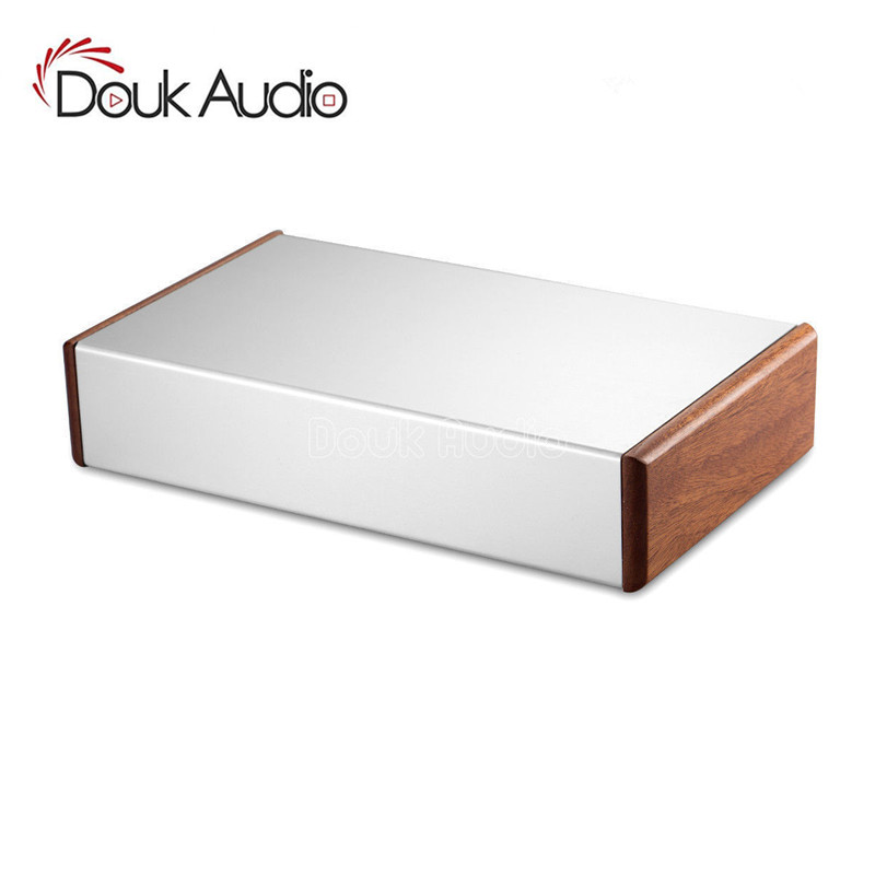 Nobsound Aluminum Chassis Amplifier Case Wooden Side Panel Box Mini Enclosure DIY House