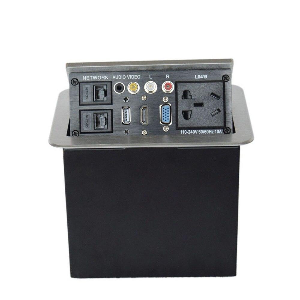Prise de courant universelle multimédia de bureau HDMI VGA réseau Pop up puissance cachée bureau maison USB prise réseau Interface - 2