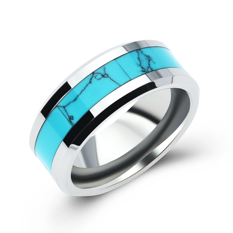 2016 Hot Sale Tungsten Stainless Steel Turquoise Man Rings