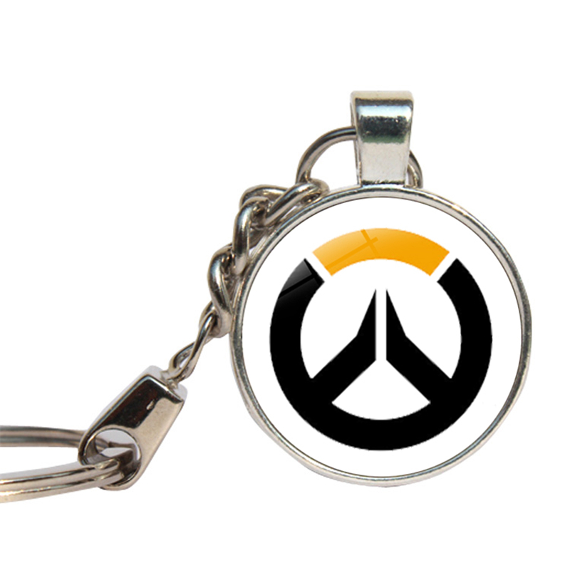 Overwatch Keychains Hot Online Game Anime Ow Key Rings Overwatch Heroes Logo Glass Dome Key Chain Cabochon Key Cover Jewelry