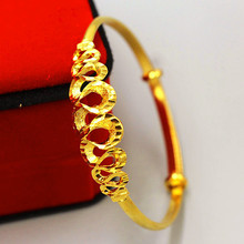 Heart Beat Bangle Yellow Gold Filled Adjustable Bracelets & Bangles for Women Simple ECG Party Fashion Jewelry стоимость