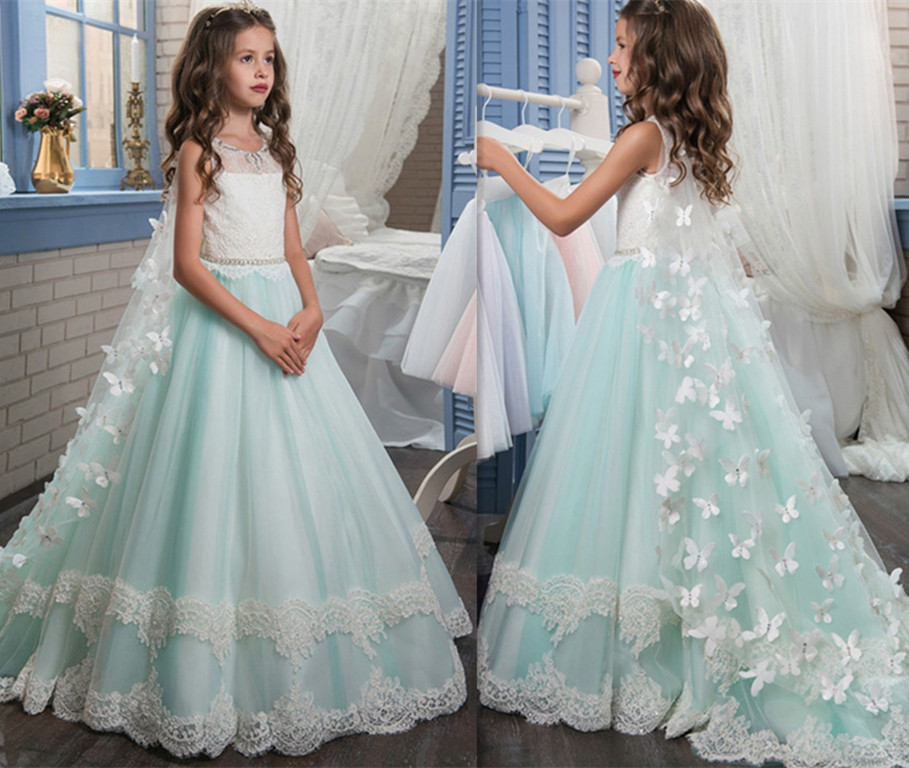 Pageant Dresses for Girl Butterfly O-neck Lace Up Bow Sash Sleeveless Vestidos Longo Custom Made Girls Communion Gown