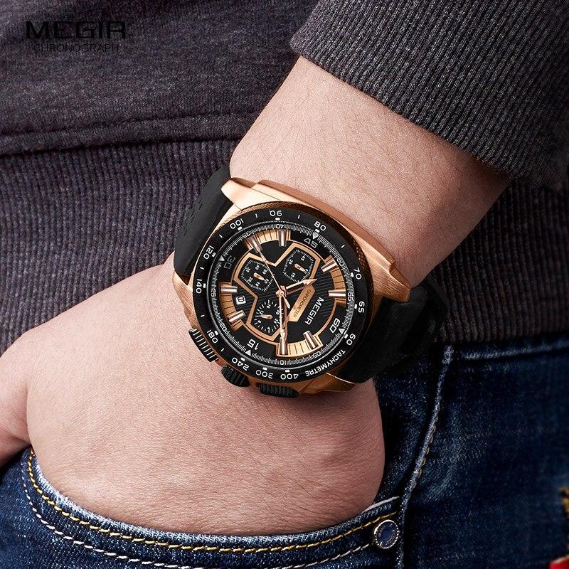 Megir Mannetjes Mens Chronograph Sport Horloges Met Quartz Uurwerk Rubberen Band Lichtgevende Horloge Voor Man Jongens 2056G-1N0 5