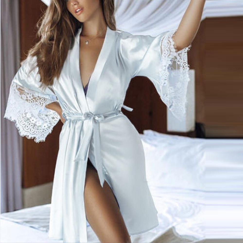 Kimono Robe Sleepwear Lingerie Gown Lace Night-Wear Satin Silk Sexy Women's Ladies Summer