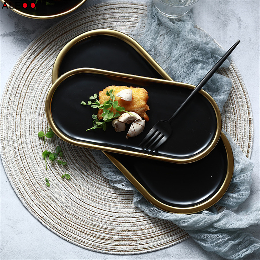 Nordic Black Gold Ceramics Table Storage Plate Vogue Chic Elegant Luxury Fruit Jewery Office Desk Storage Organizer Decorative