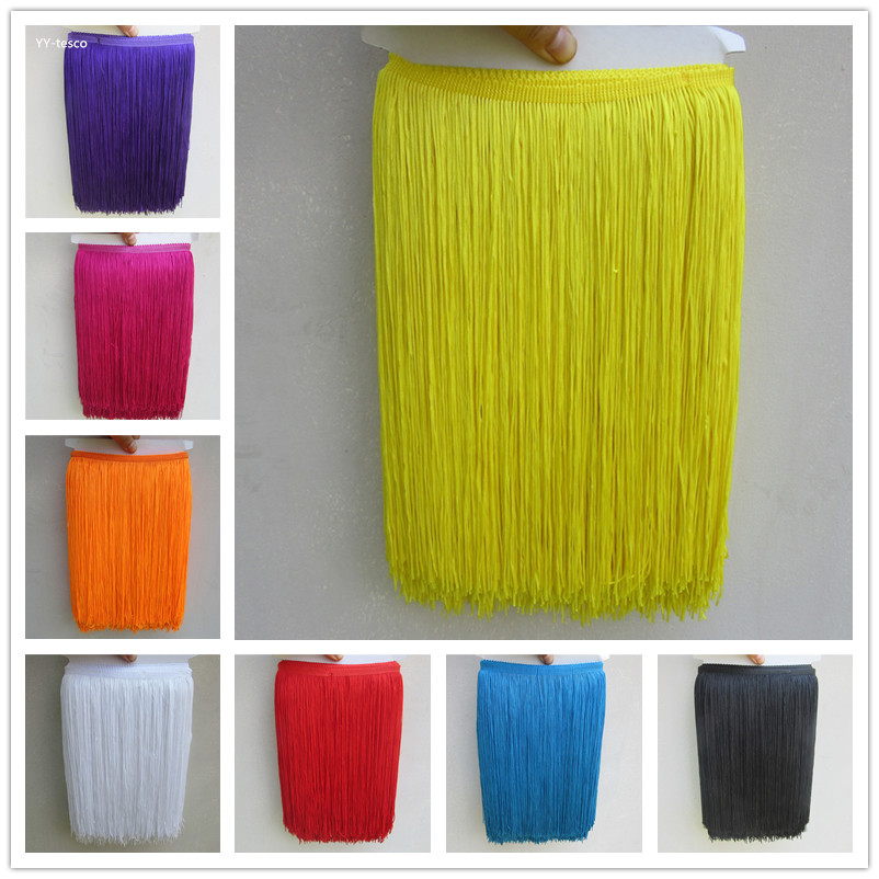 YY-tesaco 10Yard 30cm Wide Lace Fringe Trim Tassel Fringe Trimming For DIY Latin Dress Stage Clothes Accessories Lace Ribbon