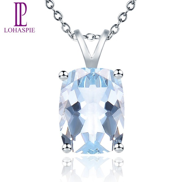 LP Stone Jewelry Natural Gemstone Aquamarine Solid 14K White Gold Pendant For Girl's Women's Birthday Gift W/ Silver Chain