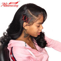 Али удивительные волосы бразильский человеческих волос на теле волна Синтетические волосы на кружеве человеческих волос парики с ребенком