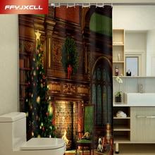 цена на Christmas 3D Photo Printing Polyester Shower Curtain Waterproof Mildew Home Bathroom Curtain Custom Made Szie