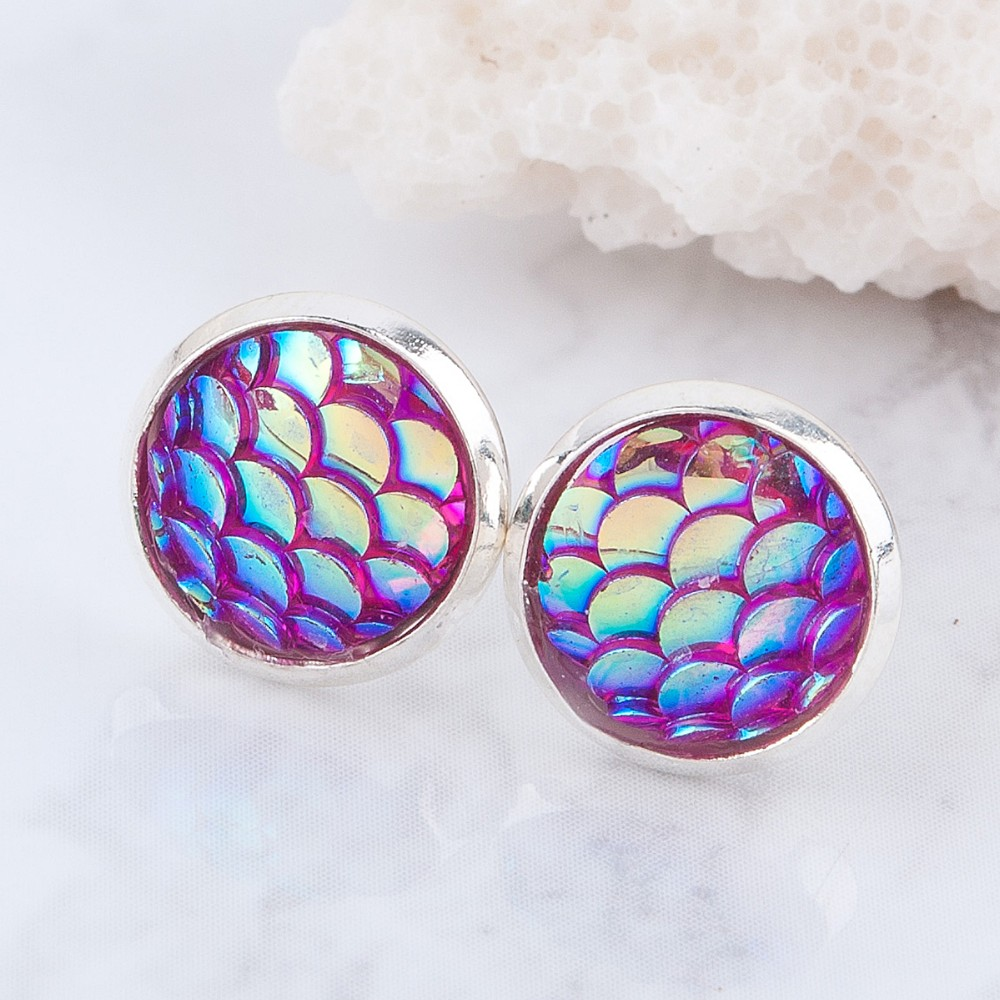 Handmade Drusy Resin Beads Round Mermaid Earrings