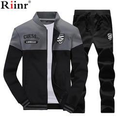 Riinr Новый Повседневное спортивный костюм для мужчин осень молния куртки + брюки для девочек шт. из 2 мужской Slim Fit Спортивная