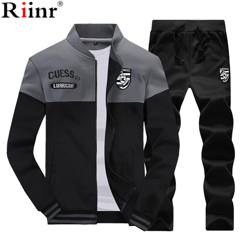 Riinr New Casual Tracksuit Men Autumn Zipper font b Jackets b font Pants 2 Pieces Sets