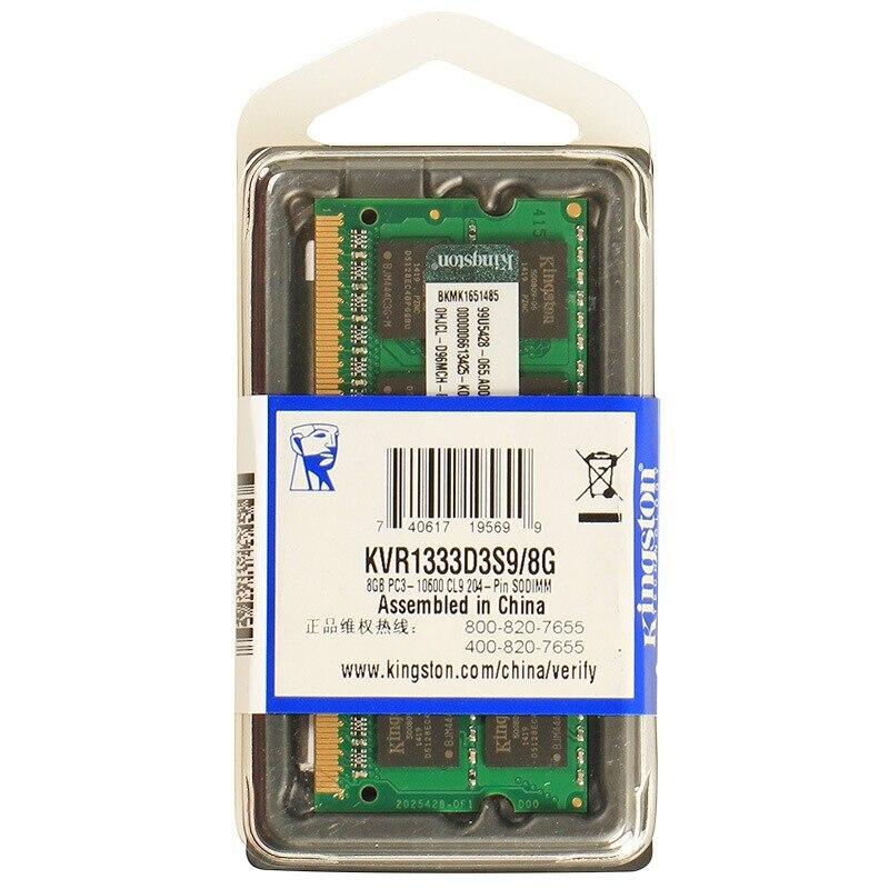 Kingston DDR3 RAM 8GB Laptop Ram 8 GB Memory Ddr3 1333Mhz KVR1333D9S9/8G CL9 1.5V PC3 10600 204pin Laptop SODIMM RAM