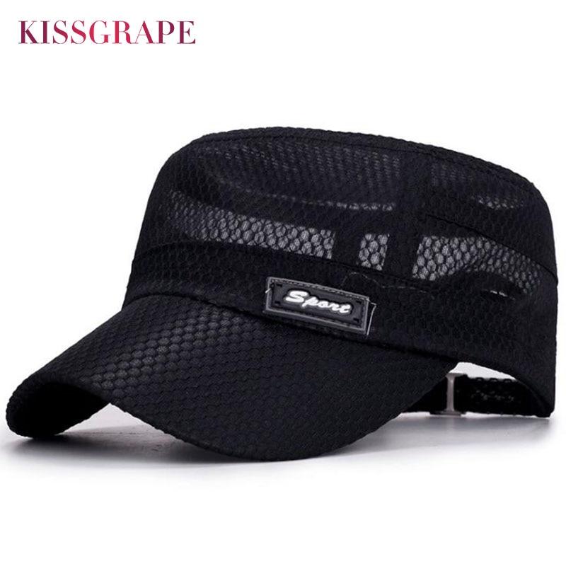 2018 Men Summer Breathable Baseball Cap Flat Top Mesh Baseball Hat for Men Outdoor Sport Sun Hat Dad Hat Adjustable Army Cap