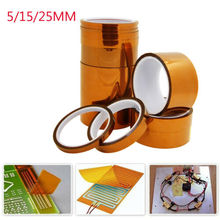 лучшая цена 5/15/25mm 33m 100ft Kapton Adhesive Tape BGA High Temperature Heat Resistant Polyimide Gold for Electronic Industry