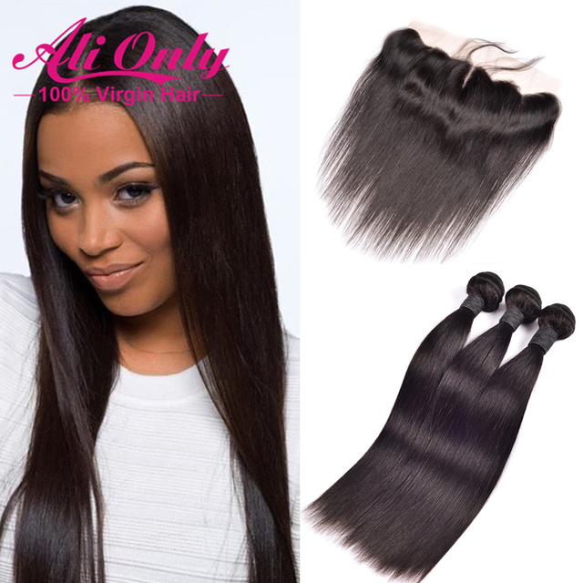 Ear To Ear Lace Frontal Closure With Bundles 7A Peruvian Straight Virgin Hair With Closure 13x4 Frontal With Bundles Human Hair