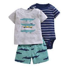 Newborn Baby Boys Clothes Little Man Short Sleeve Cotton Bodysuits Shirts Shorts 3pcs Outfits Bebek Clothing Set 6-24M