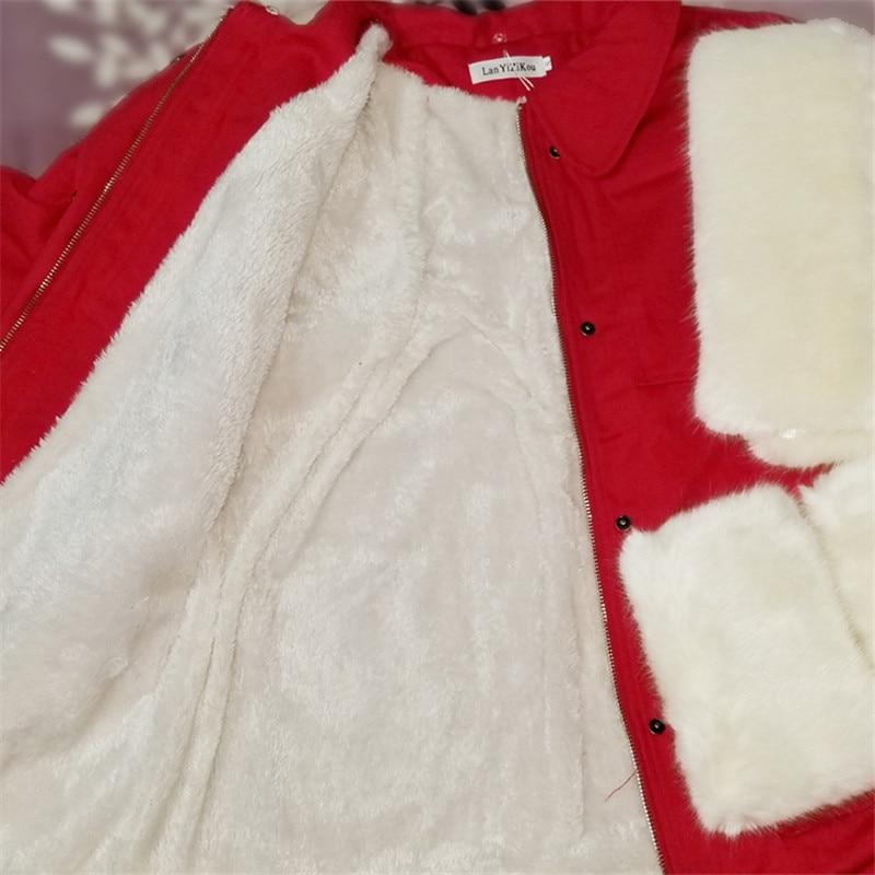 Court Marron rouge Veste blanc jaune Manches Ceintures Pardessus Manteau Hiver Mode Coton Femmes De Parkas Laine Chaud Cheveux Col Fourrure Doublure Outwear BqYUC5