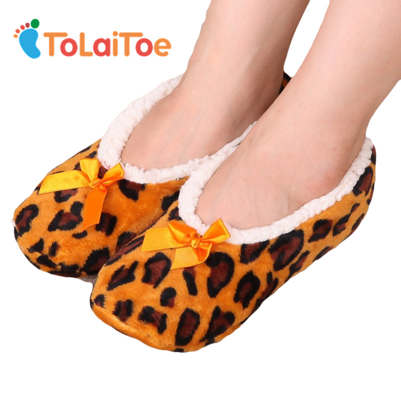 ToLaiToe Home Soft Plush Leopard Slippers Coral Fleece Indoor Home Shoes Floor Sock Indoor Winter Foot Warmer household Slippers tolaitoe autumn
