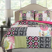 CHAUSUB Patchwork Cotton QUILT Set 3PC Quilts Bed Sheets Washed Quilted Bedspread Printed Bed Cover Pillowcase Coverlet Set