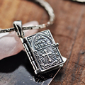 925 Sterling Silver Holy Bible Cross Pendant Necklace For Man And Women Book Type Carving Engraved Lord's Prayer English Letters