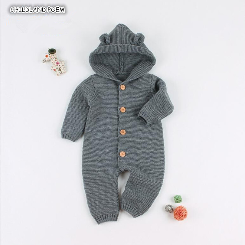 Knitted Baby Clothes Winter Newborn Baby   Rompers   Girl Boys Jumpsuit Hooded Infant Baby Sweater Outerwear Toddler Boys   Romper