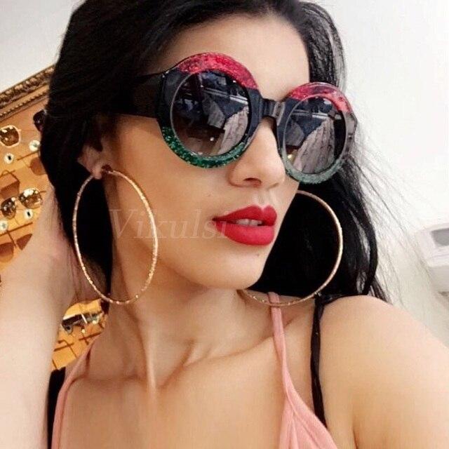 2018 Роскошные увеличенные Круглые Солнцезащитные очки женские Ретро Италия бренд дизайнерское ожерелье рамка солнцезащитные очки для женщин зеленый красный oculos