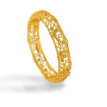 Жёлтый золотистый женский браслет с цветочным узором