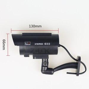 Поддельная имитационная камера на солнечной энергии, водонепроницаемая камера видеонаблюдения для использования в помещении и на улице, мигающий светодиодный светильник