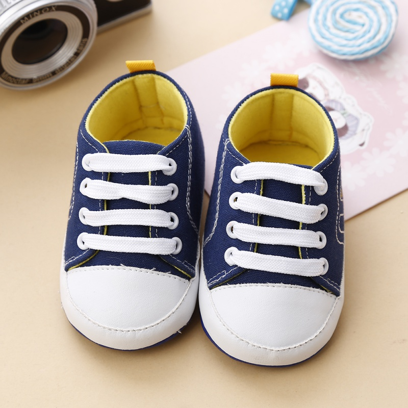 New Spring Boys Girls Cute Canvas Solid Color Infant Toddler Baby Sneakers Soft Sole Crib Non-slip Shoes