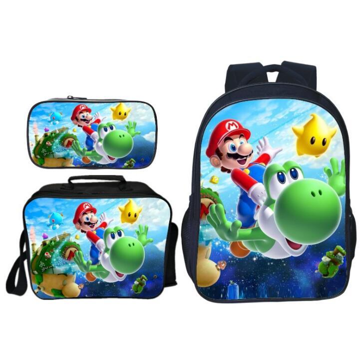 Fashion 3Pcs/set Printing Cartoon Spuer Mario Children School Bags For Boys Shoulder Backpack Students Bookbag Kids Satchel Girl