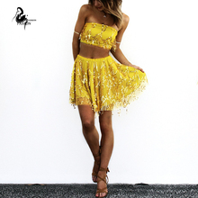 New lace Sequined Dress 2016 Sexy Women Slim Tassel sequins Prom Party Evening Gown  Mini Dresses