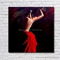 Пикантные Для женщин танец картина маслом Ручная роспись стены картинки для украшения дома дешевые современные холст Книги по искусству не...