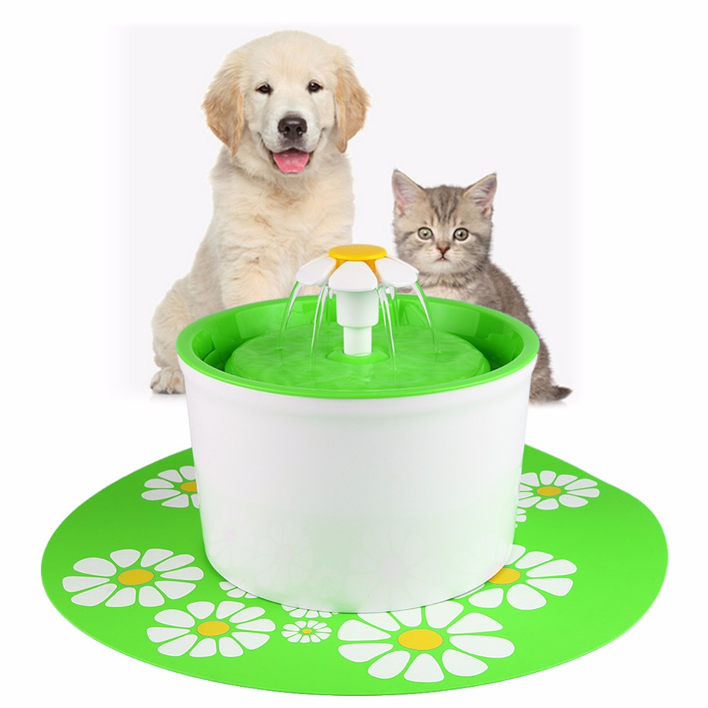 цена на Automatic 1.6L Flower Style Dog Cat Kitten Water Drinking Pet Fountain Pet Bowl Drink Dish Filter With Mat
