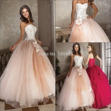 Champagne ball gown embroidery corset bodice and tulle prom dress evening