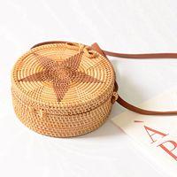 ca701c340 FGGS Women Round Weave Braid Woven Rattan Basket Bag Leather Style Straps  Summer Beach Shoulder Bag. FGGS Mulheres Rodada Tecer Trança Tecida Saco de  ...