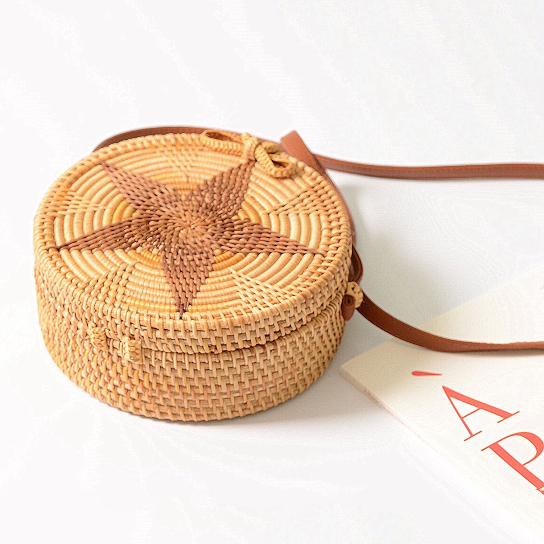 FGGS Women Round Weave Braid Woven Rattan Basket Bag Leather Style Straps Summer Beach Shoulder Bag Darker Star