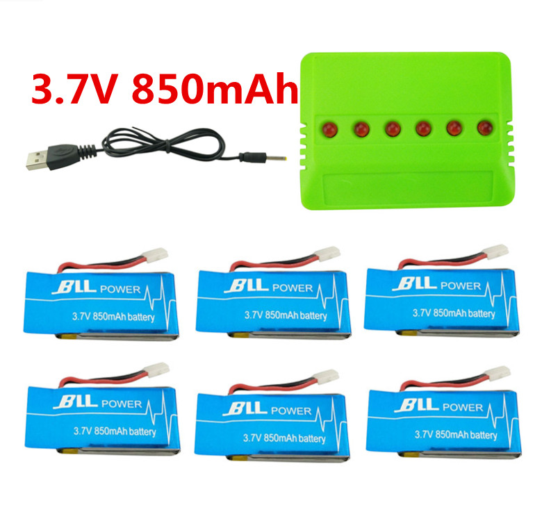 BLL battery  6pcs 3.7V 850mAh Syma X5SW X5SC X5S X5SC-1 RC Battery with 5 in1 Charger Set for Drone Quadcopter Free Shipping