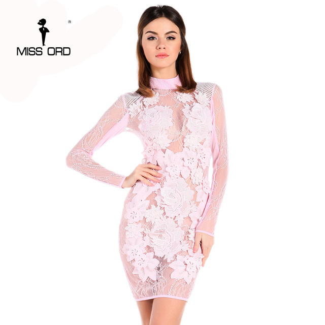 764fb91fc589 Free Shipping Missord 2019 Sexy see through long sleeve zipper Bodycon lace mini  dress FT5036