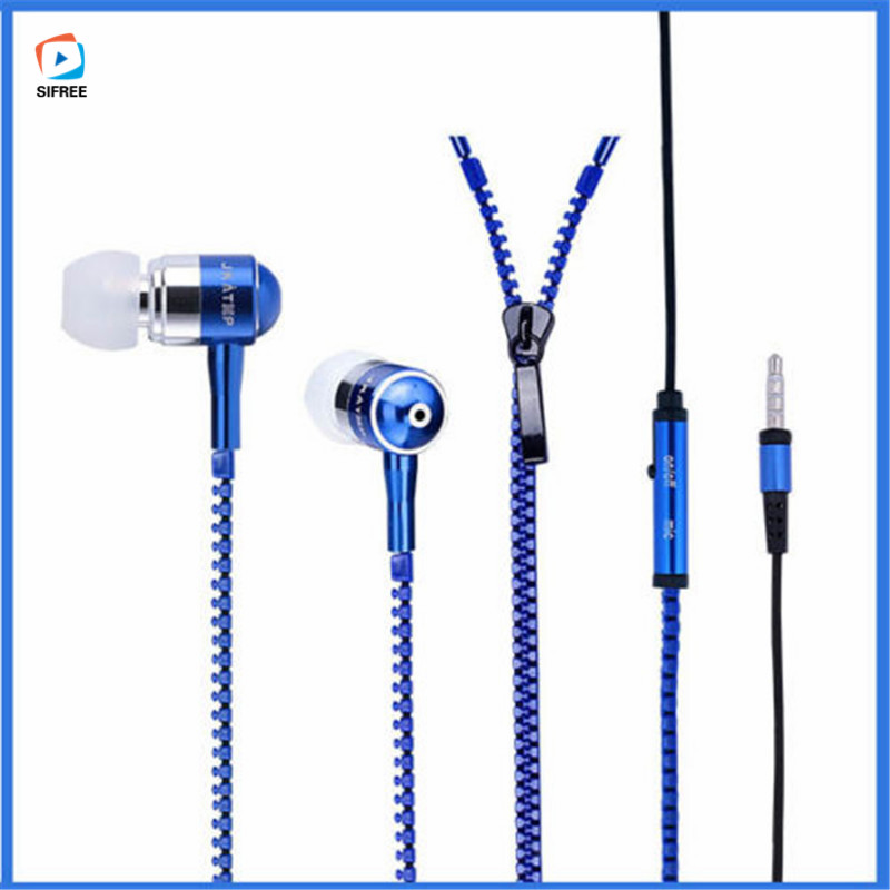 Metal Zipper Earphone 3.5mm In-Ear Wired Ear Phones With Microphone Stereo Bass Earbuds For Mobile Phone MP3 MP4 Music Players misr t3 wired earphone metal in ear headset magnet for phone with mic microphone stereo bass earbuds