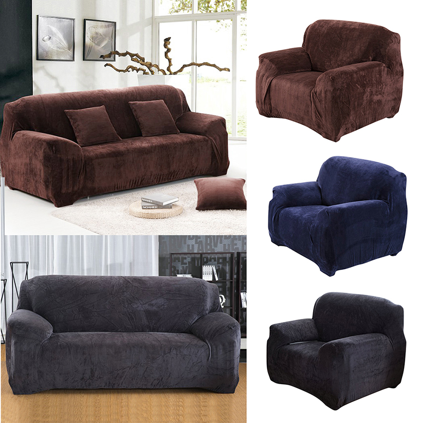 New Universal Sofa Cover Solid Thick Plush Couch Cover Soft Flannel Sofa Slipcovers Cheap Cotton For